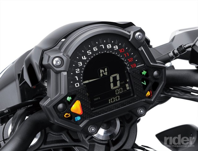 LCD display includes a digital tachometer, gear position indicator and a user-adjustable shift light.