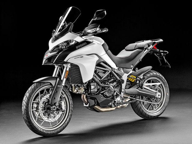 The new Ducati Multistrada 950 is available in Ducati Red or Star White Silk, with a Racing Grey frame and Matt Grey wheels.