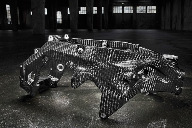 There's some serious craftsmanship involved in building a twin-spar main frame entirely from carbon fiber.