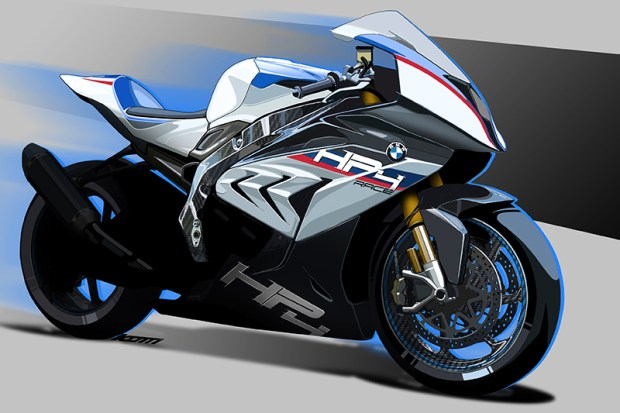 An artist's sketch of the HP4 RACE in BMW Motorsport colors.