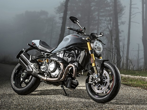 For 2017, the Ducati Monster 1200 and 1200 S get 150 horsepower, cornering ABS, wheelie control and other upgrades. This is the new Liquid Concrete Grey color option on the 1200 S.