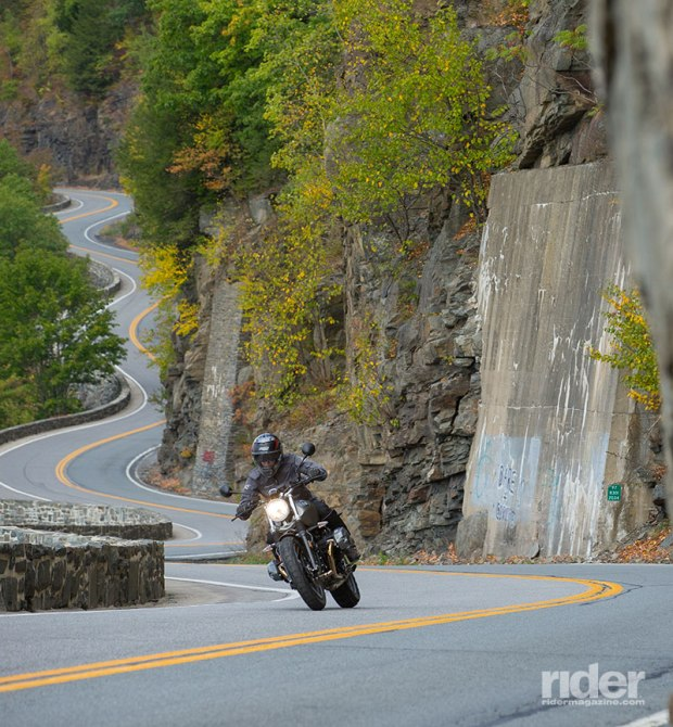 Strafing curves at Hawk's Nest, an iconic stretch of road along the Delaware River. (Photo: Kevin Wing)