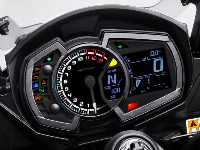 New instrumentation on the Kawasaki Ninja 1000 ABS includes an analog tachometer, a backlit LCD with a new gear position indicator and a shift light.