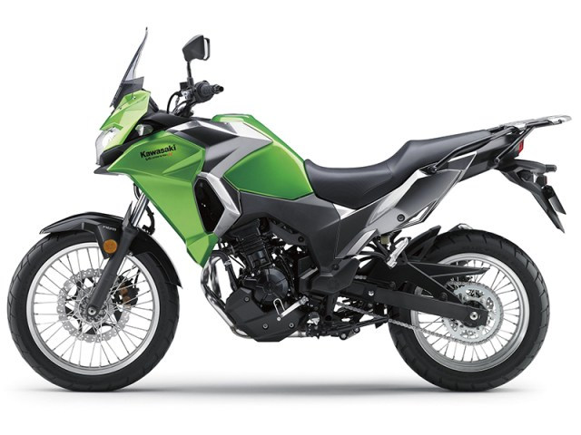 Spoked wheels (19-inch front, 17-inch rear), long-travel suspension and an upright seating position with a wide handlebar make the Versys-X 300 suitable for light offroad duty.