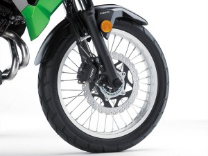 The Kawasaki Versys-X 300 rolls on spoked 19-inch front and 17-inch rear wheels. ABS is optional.
