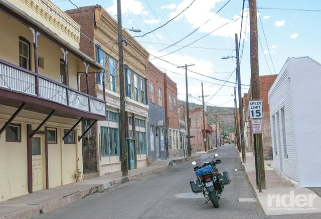 Chase Creek, the main street in Clifton, Arizona, on a busy Sunday afternoon. The copper mine is still working, but at a greatly reduced rate due to cheaper imports.