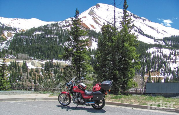 Snow lingers in June at the peak of Red Mountain, on the Million Dollar Highway.
