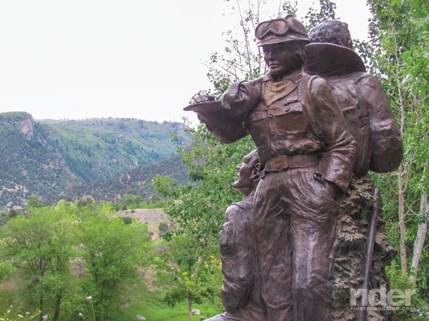 "A bronze sculpture honoring the ""Storm King 14"" in Glenwood Springs includes the figure of a woman. Four women from the Prineville, Oregon, Hotshots crew were killed in the 1994 fire."
