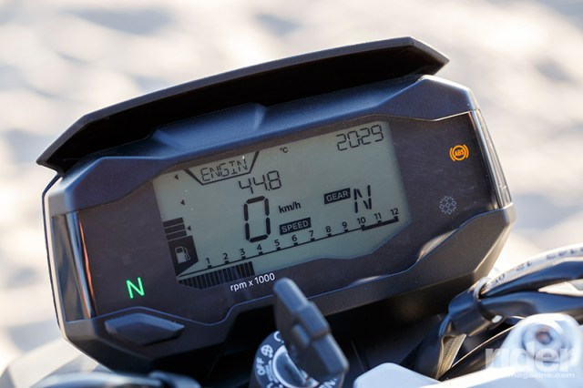 The large and easy-to-read digital display contains a wealth of information, including speed, time of day, engine speed, gear position, fuel level, odometer/tripmeters and fuel consumption data.