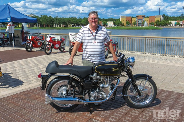 Joel Edward Greene of Cairo, Georgia, with his Best of Show-winning 1967 Velocette Thruxton.