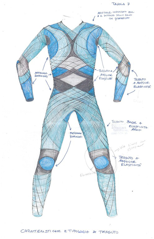 A concept drawing of the Dainese BioSuit.