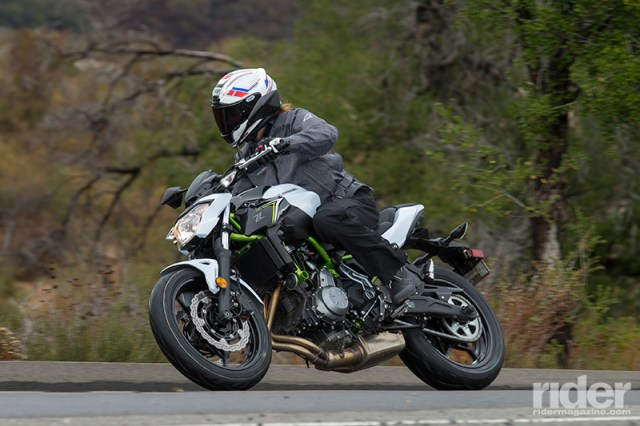 Winding the Z650 through its gears is a hoot. The newly revised engine delivers a strong, smooth surge of power throughout the mid-range, where most riders will spend the majority of their time.