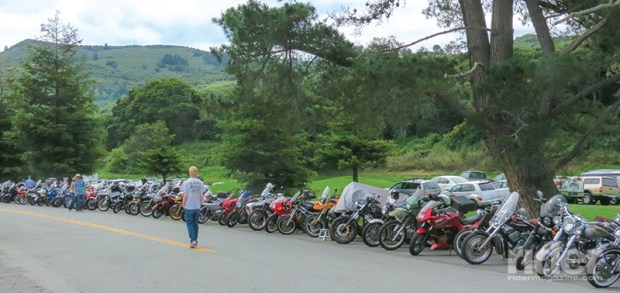One of the nice things about the Quail Gathering is that motorcycle parking is so easy; hundreds of bikes lined up for hundreds of yards along the road that passes the venue.