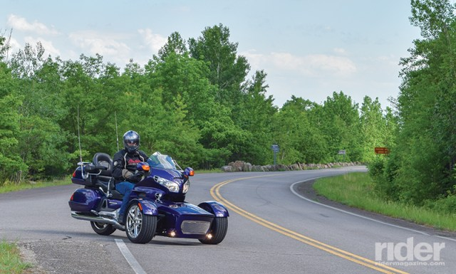 An unexpected advantage of the reverse trike format is that it creates a large visual profile, appearing more substantial and more likely to be seen by other drivers. Taking styling cues from the Gold Wing and then color matching to factory paint schemes, Motor Trike has done much to make the Prowler RT conversion a natural extension of the motorcycle.