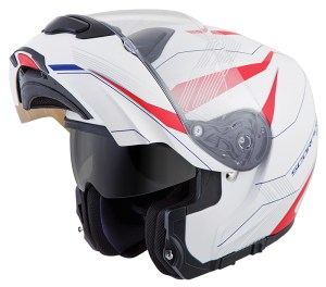 The Scorpion EXO-GT3000 with the chin bar opened and integrated sun shield down.