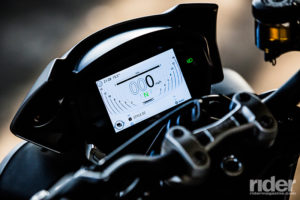 The 2017 Street Triple R and RS boast a full-color 5-inch TFT display, with three styles and two brightness settings. Here it is shown in High Contrast brightness mode.