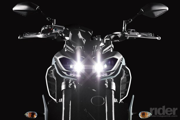 "The Twin Eye LED headlight is what Yamaha calls a ""Next Generation"" design. It's smaller than the one used on the FZ-10, and includes more lamps."