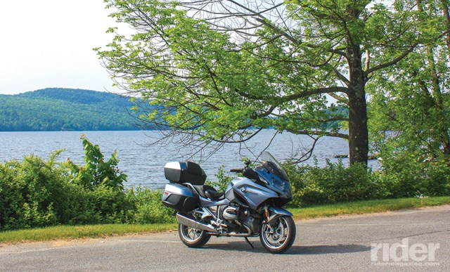 Breakfast pulled from a pannier tastes better beside Schroon Lake.