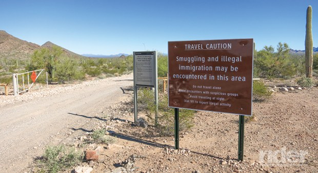 Ominous warning signs are intended to keep visitors vigilant in the border region.