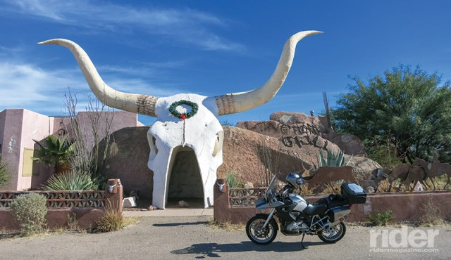 That giant steer skull is the entrance to an isolated roadside saloon near the Mexican border.