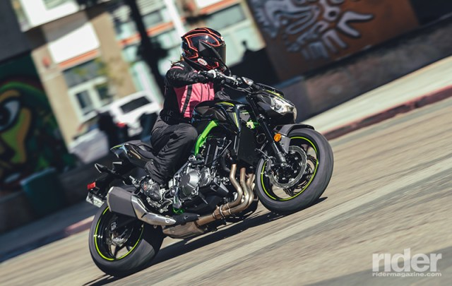 Despite its relatively flat, wide handlebar, the Z900 is comfortable enough thanks to a low 31.3-inch seat height. It's smooth and easy to rip around urban streets and canyon curves alike. (Photos by Drew Ruiz)