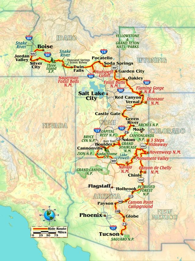 Motorcycle ride Idaho to Arizona