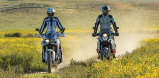 Honda Africa Twin (right) vs. KTM 1090 Adventure R (left).