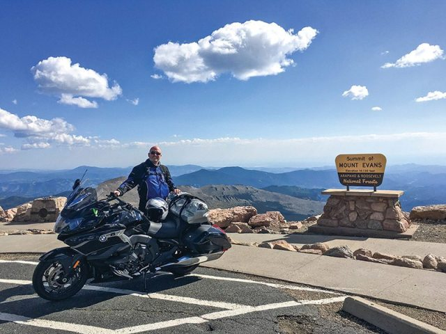 2018 BMW K 1600 B atop Mount Evans