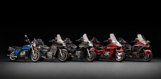 Forty years and five generations of the Honda Gold Wing: GL1000, GL1100, GL1200, GL1500 and GL1800.