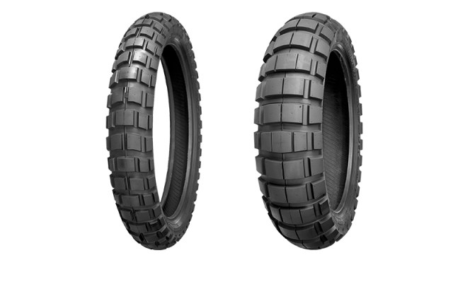 Shinko 804 front and 805 rear ADV motorcycle tires.