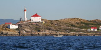 The Trial Islands Lighthouse, built in 1906, continues to be staffed by two full-time lightkeepers. Photos by the author.