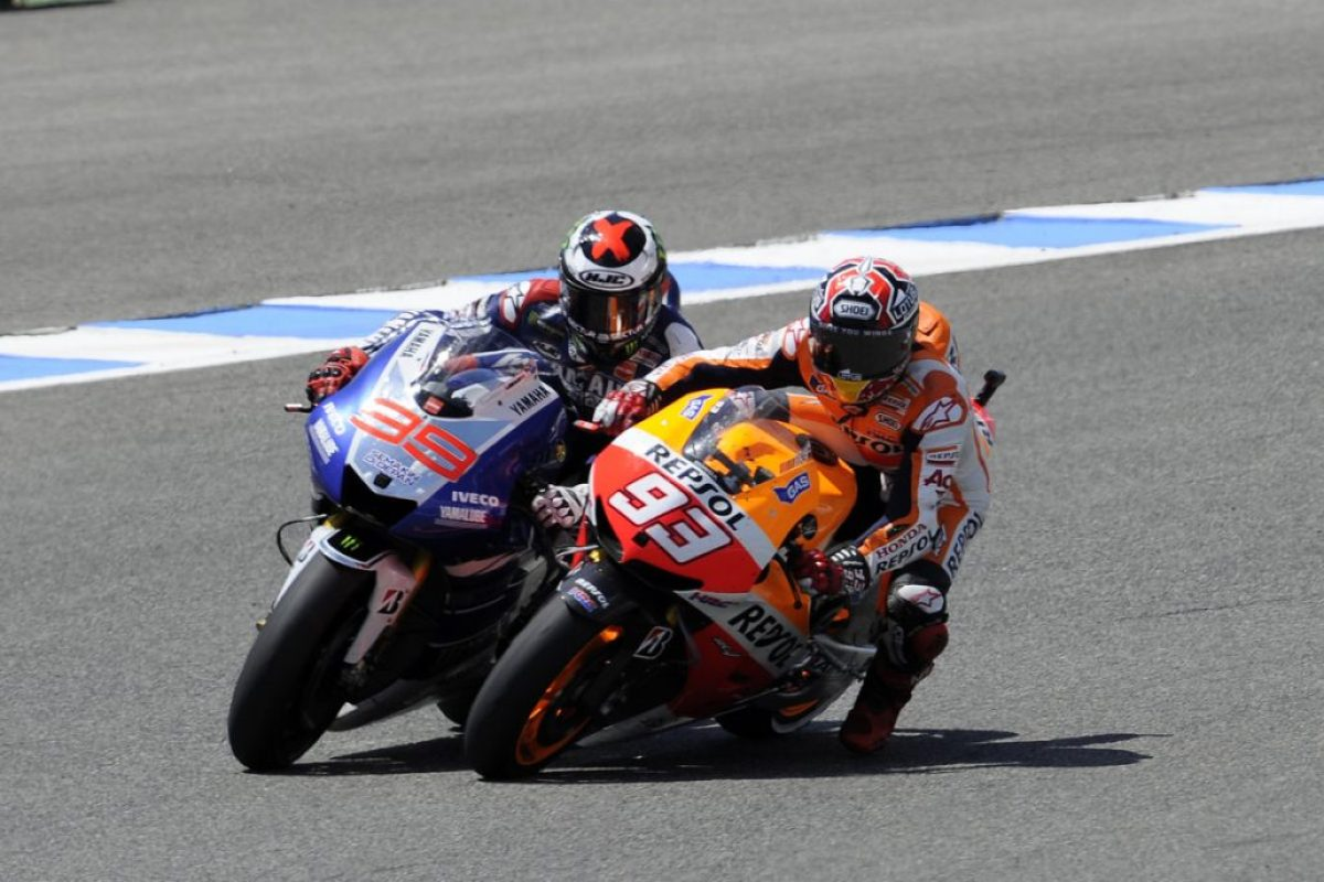 MOTORSPORT - MOTO GP 2013 - GRAND PRIX OF SPAIN - JEREZ (SPA) - 05/05/2013 - PHOTO: STUDIO MILAGRO / DPPI - 93 MARC MARQUEZ (SPA) - HONDA TEAM - HONDA - ACTION 99 JORGE LORENZO (SPA) - YAMAHA FACTORY RACING - YAMAHA - ACTION