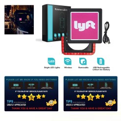 LED Flashing Car Glow Cycle Sticker Signal Light Sign Lamp Wireless Bright For UBER & LYFT Car+2 pack Tips Rating Appreciated Rideshare Driver Signs