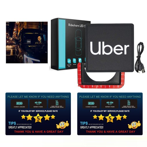 Uber Light up LED Sign,Bright LED Uber Light Removable,USB Rechargeable Lithium,Uber Driver Accessories+2PCS Uber Tips Rating Appreciated By Rideshare