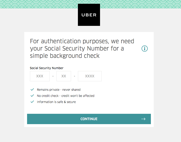 Give Uber Social Security Number