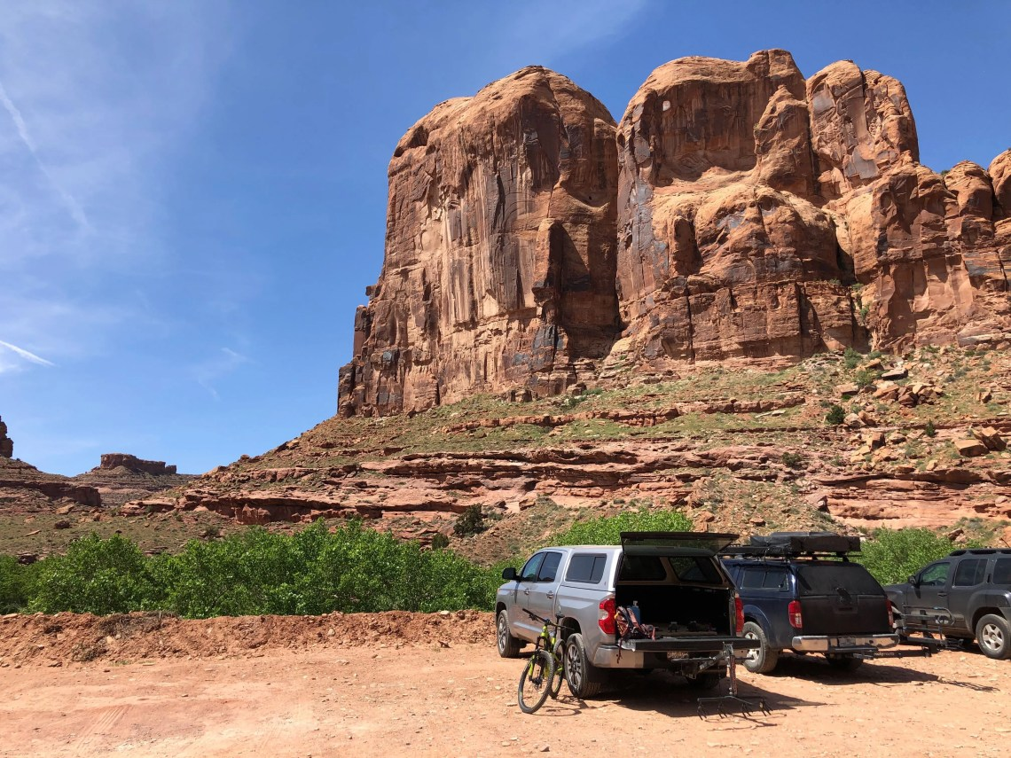 Amasa Back parking lot near Moab, Utah is used to access the Hymasa/Captain Ahab mountain bike trail loop