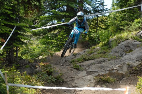 racer competing in the 2019 SilverStar Canada Cup DH mountain bike race