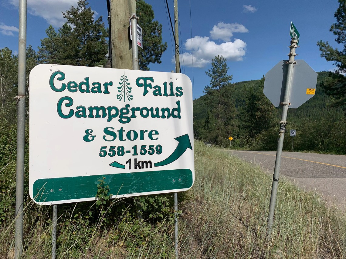 cedar falls campground sign