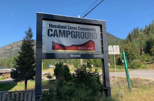 Rossland Lions Community Campground entry sign