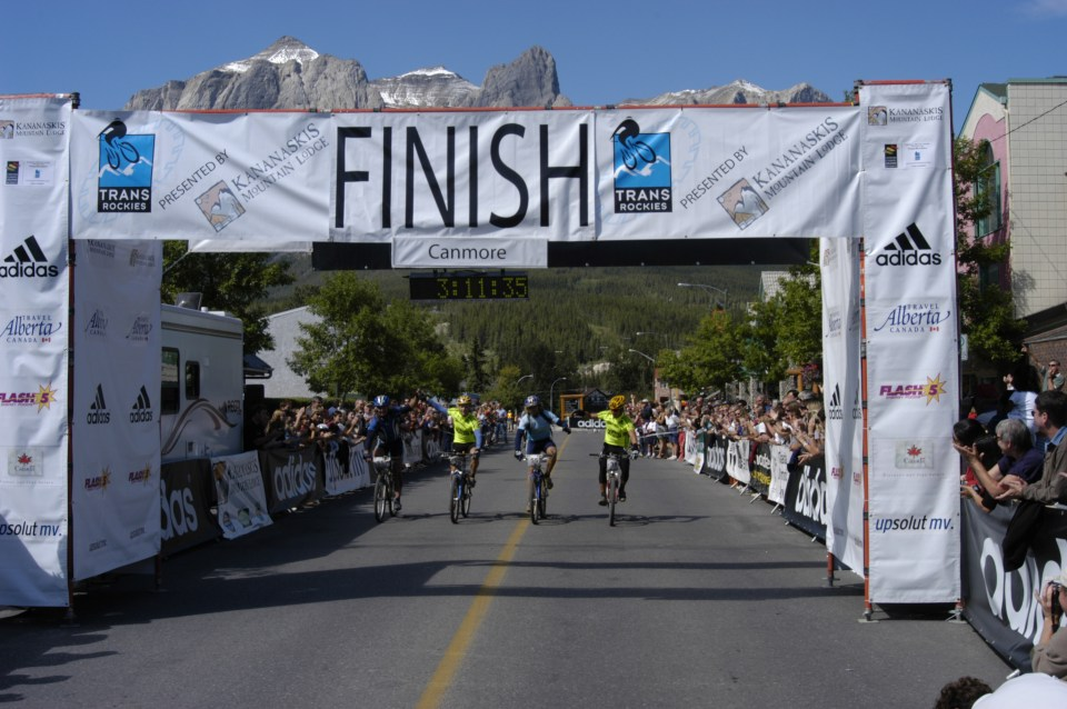 Finish line in Canmore, Alberta during the first Transrockies Challenge stage race in 2002