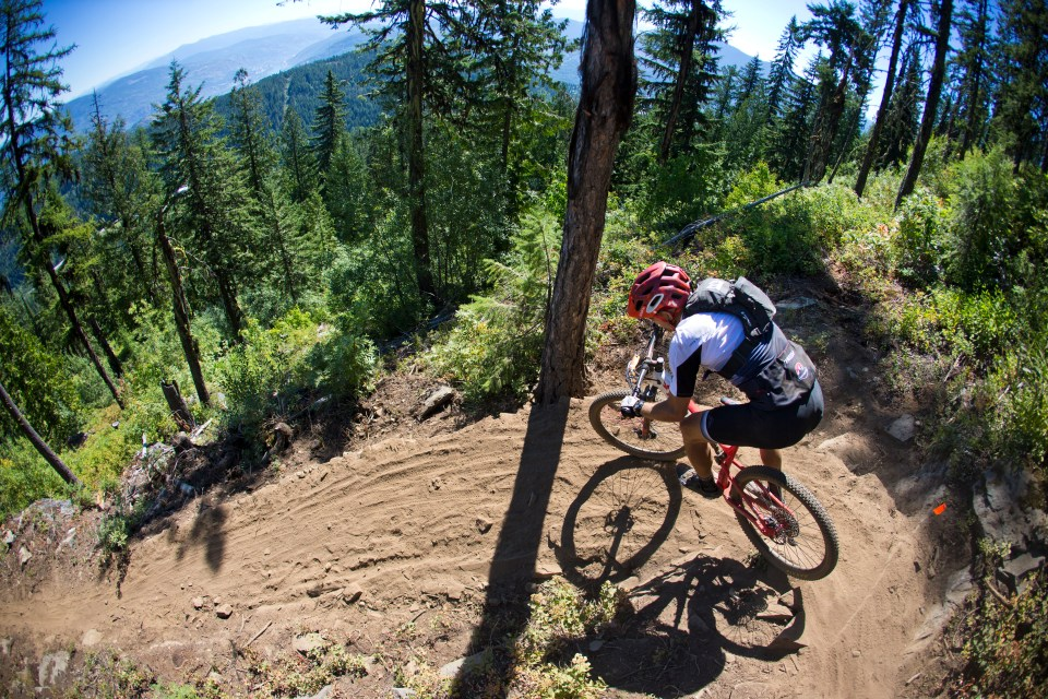 Tight switchback during a Singletrack 6 stage in Rossland, BC