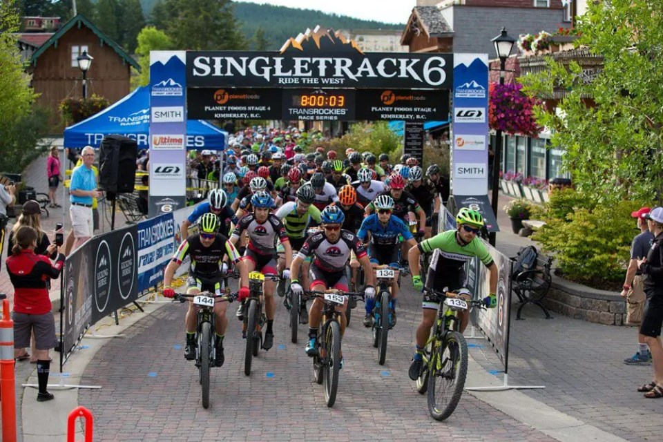 Singletrack 6 mountain bike race stage start in Kimberley, BC