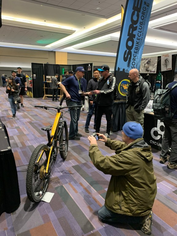 Loni Hull shows off Structure Cycleworks' SCW-1 at the 2020 BC Bike Show