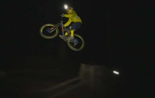 Light n Sound. Sending it in the dark is a true test of riding skill. Sacsha Bamberg is hitting these big gaps and drops in the dark with just a head lamp and a Pivot.