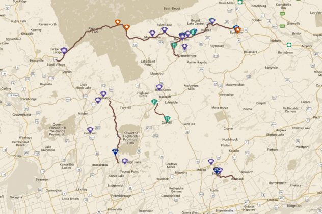 Map showing featured 5 roads in Ontario's Highlands