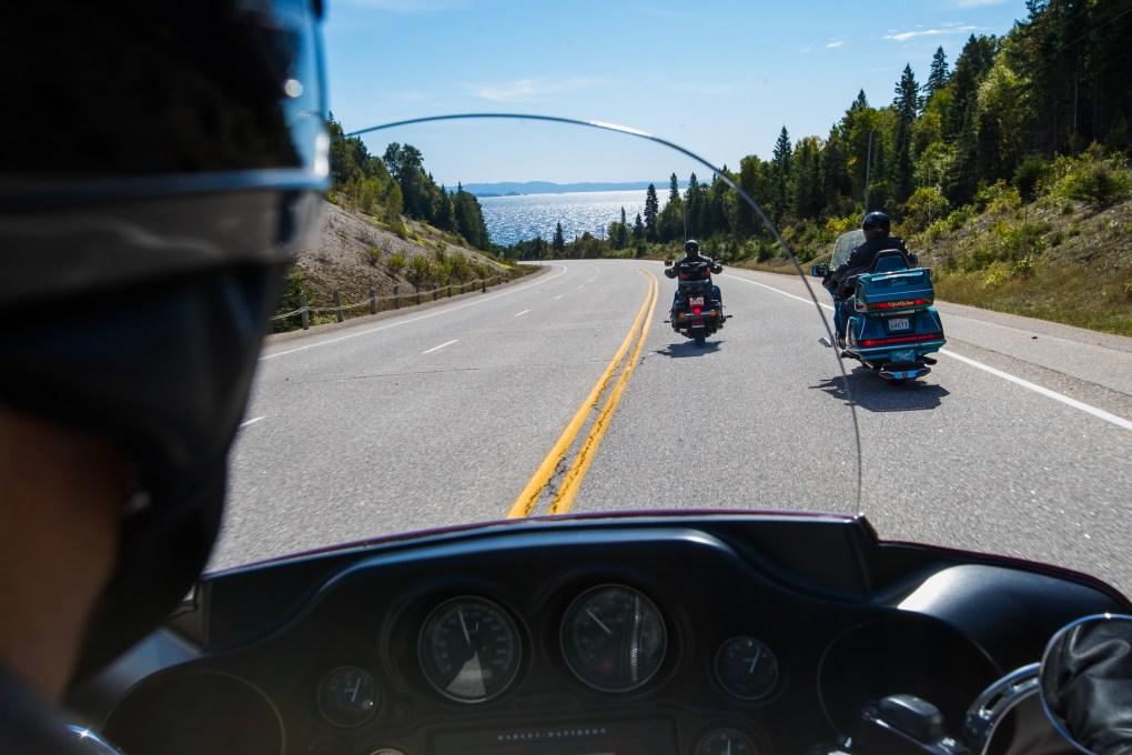 Motorcycles heading towards Lake Superior