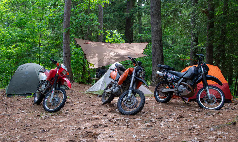 Motorcycles and tents