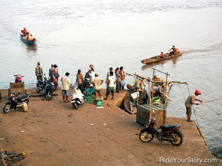 Passenger ferry along Tonle Sekong or Kong River.