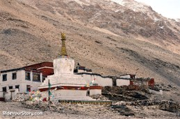 Rongbuk Monastery near the base, claimed to be the highest monastery in the world.
