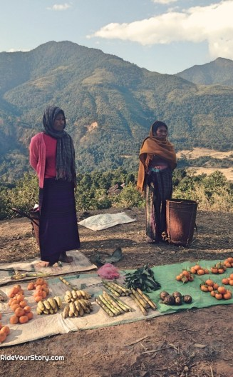 Mishmi ladies selling their fruits by the mountain road side.